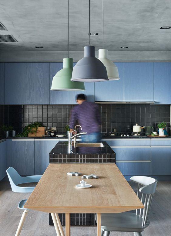 Cozinha azul: leve um pouco de cor com tons suaves