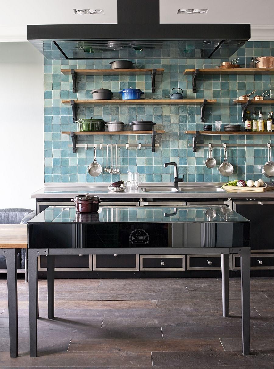 Deixe sua cozinha azul com aspecto industrial