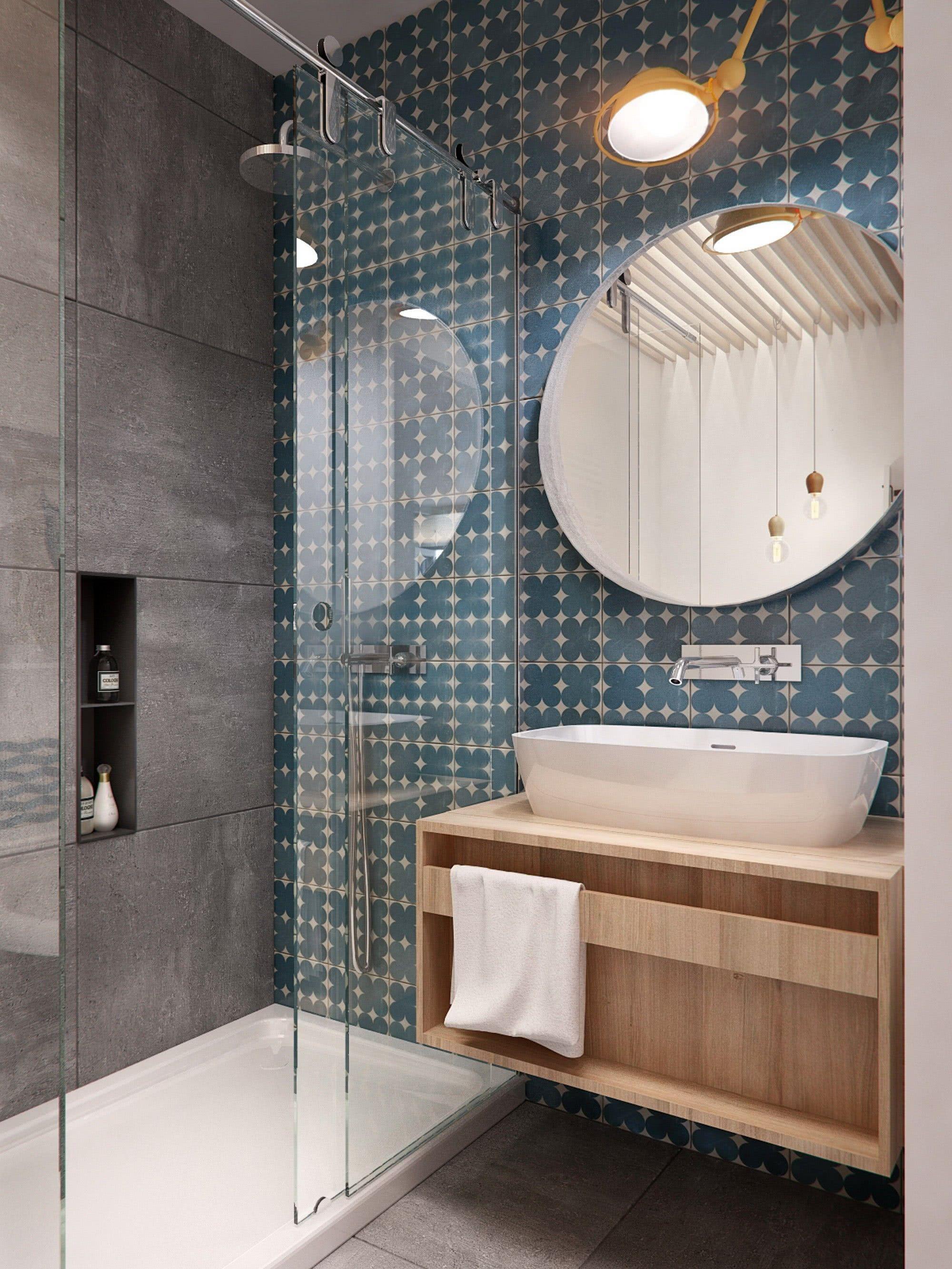 100 banheiros simples e pequenos inspiradores fotos for Miroir zellige