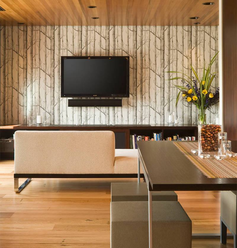 Papel de parede para sala de estar 60 modelos fotos for Papel pared moderno