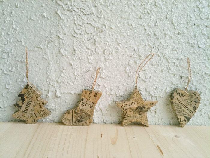 Lindos objetos decorativos feitos com jornal para comemorar o Natal