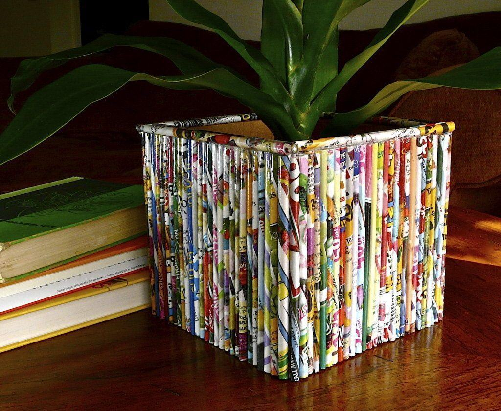 Vaso para planta de jornal quadrado