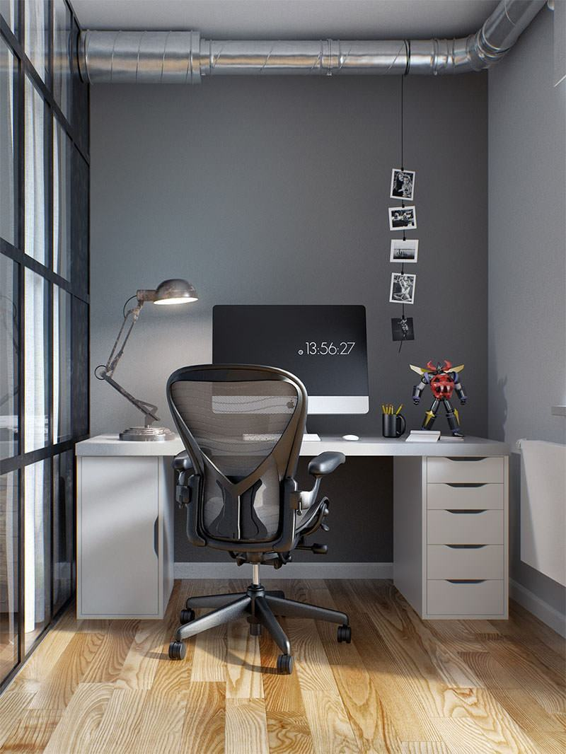 Home office pequeno 60 fotos de decora o for Modelo de departamento pequeno