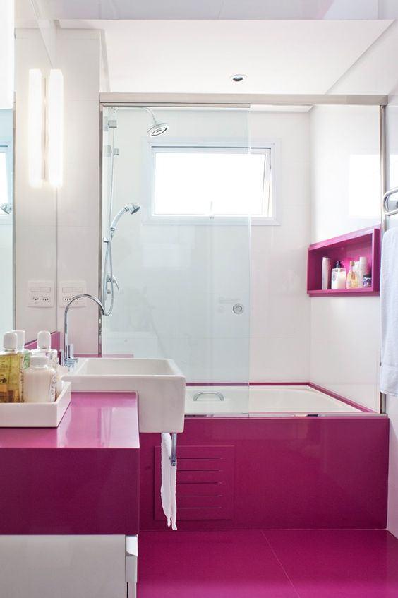Banheiro Rosa 60+ Modelos & Fotos de Decoração -> Cuba Rosa Banheiro