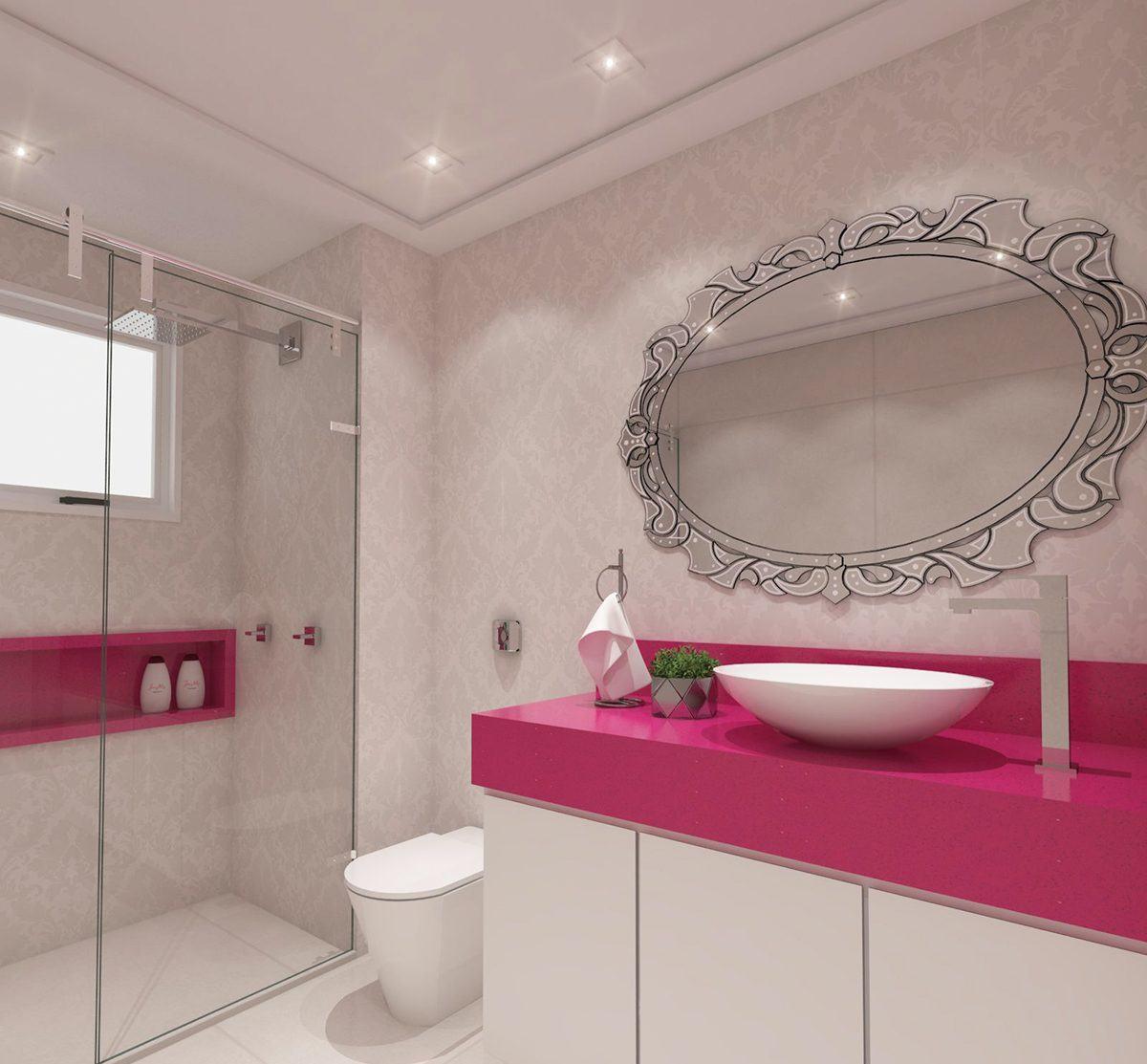 Banheiro Rosa 60+ Modelos & Fotos de Decoração -> Banheiro Pequeno Decorado Rosa