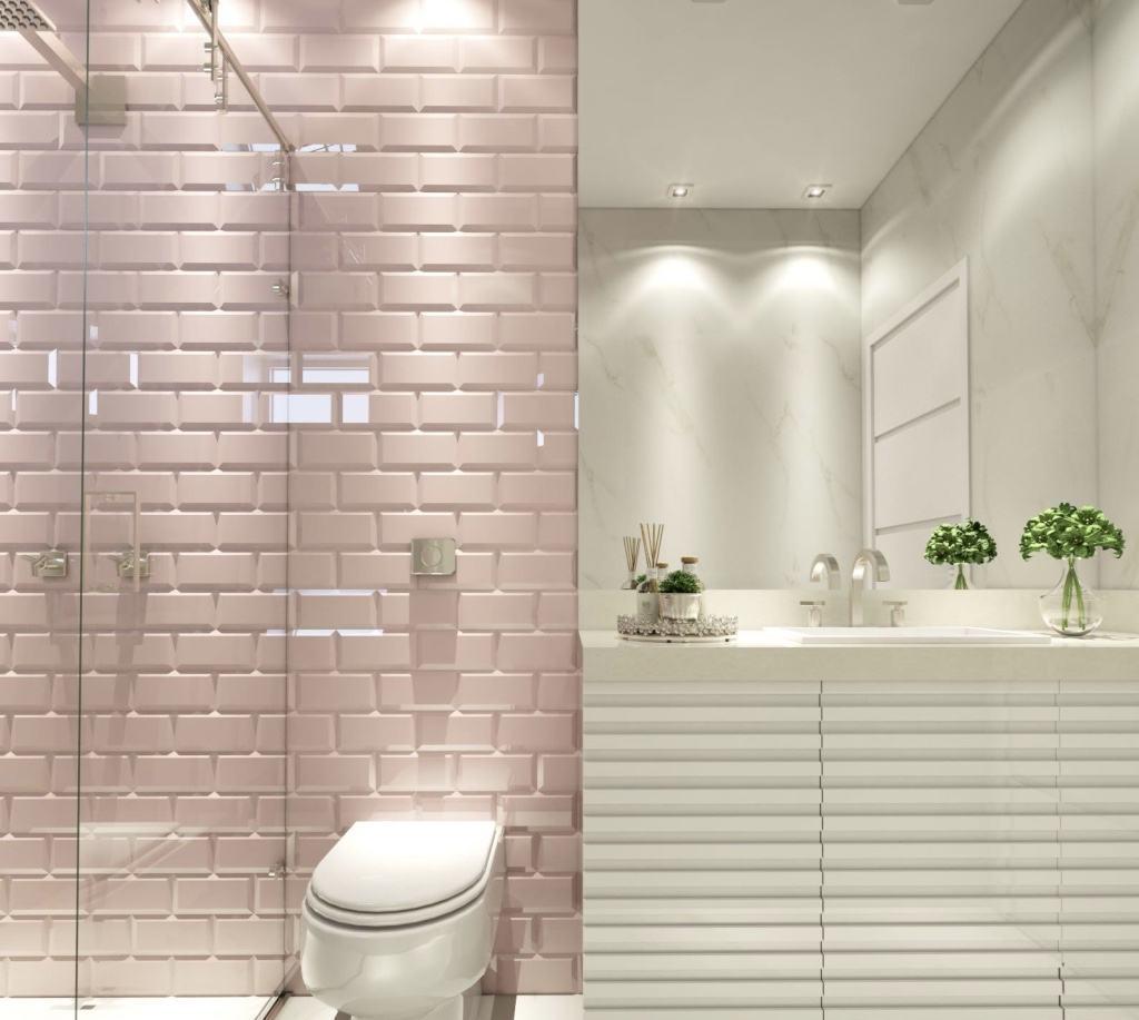 Banheiro Rosa 60+ Modelos & Fotos de Decoração -> Revestimento Para Banheiro Simples E Barato