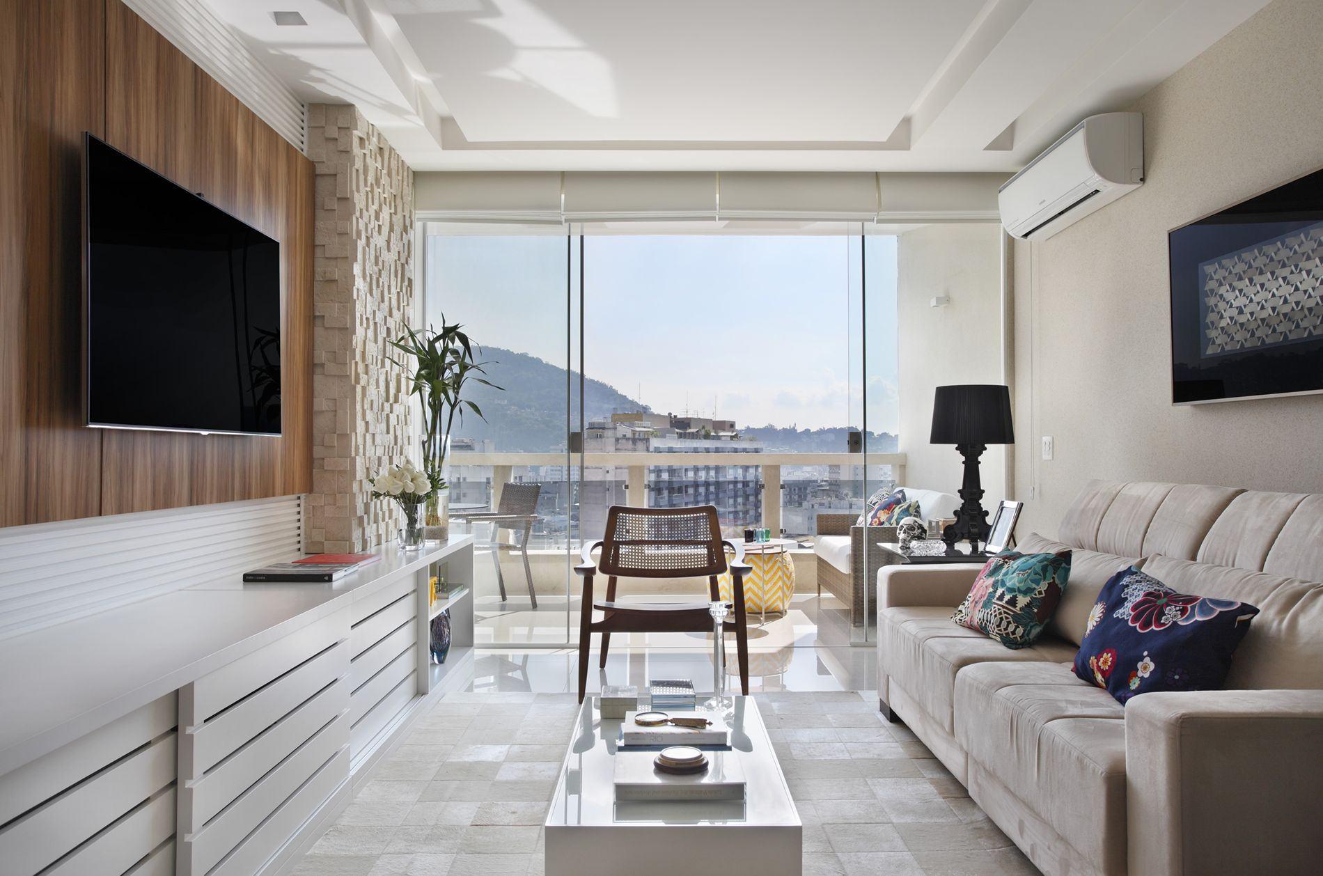 Imagem 20 – Sala de estar clean e rústica ~ Sala De Estar Clean
