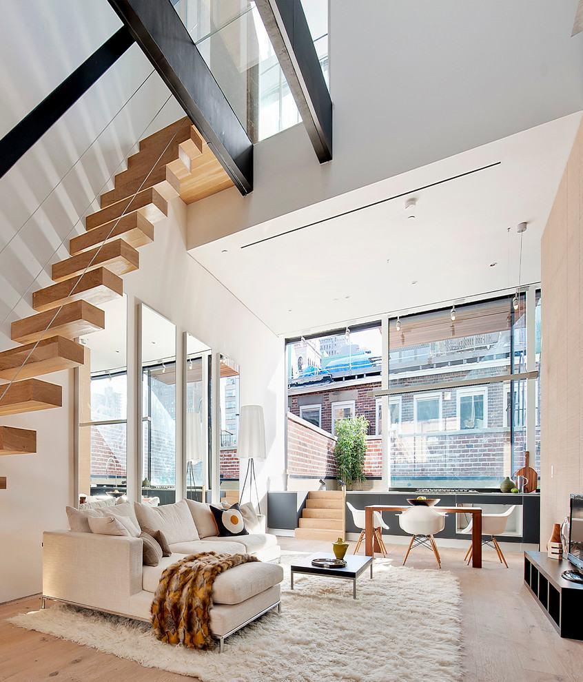 60 Salas Com Sofá Vermelho Incríveis: Sala Com Escada: 60+ Ideias E Referências Incríveis