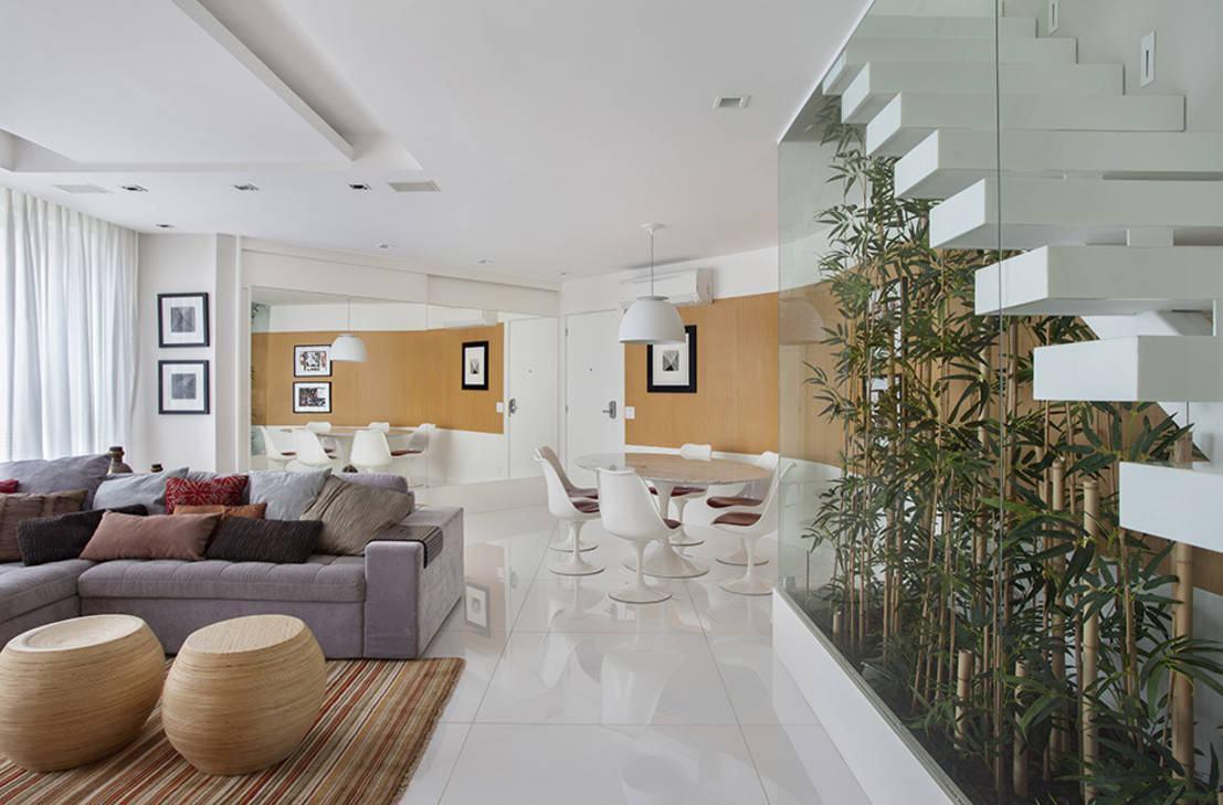 Sala Com Escada 60 Ideias E Refer Ncias Incr Veis  -> Divisor Sala E Cozinha