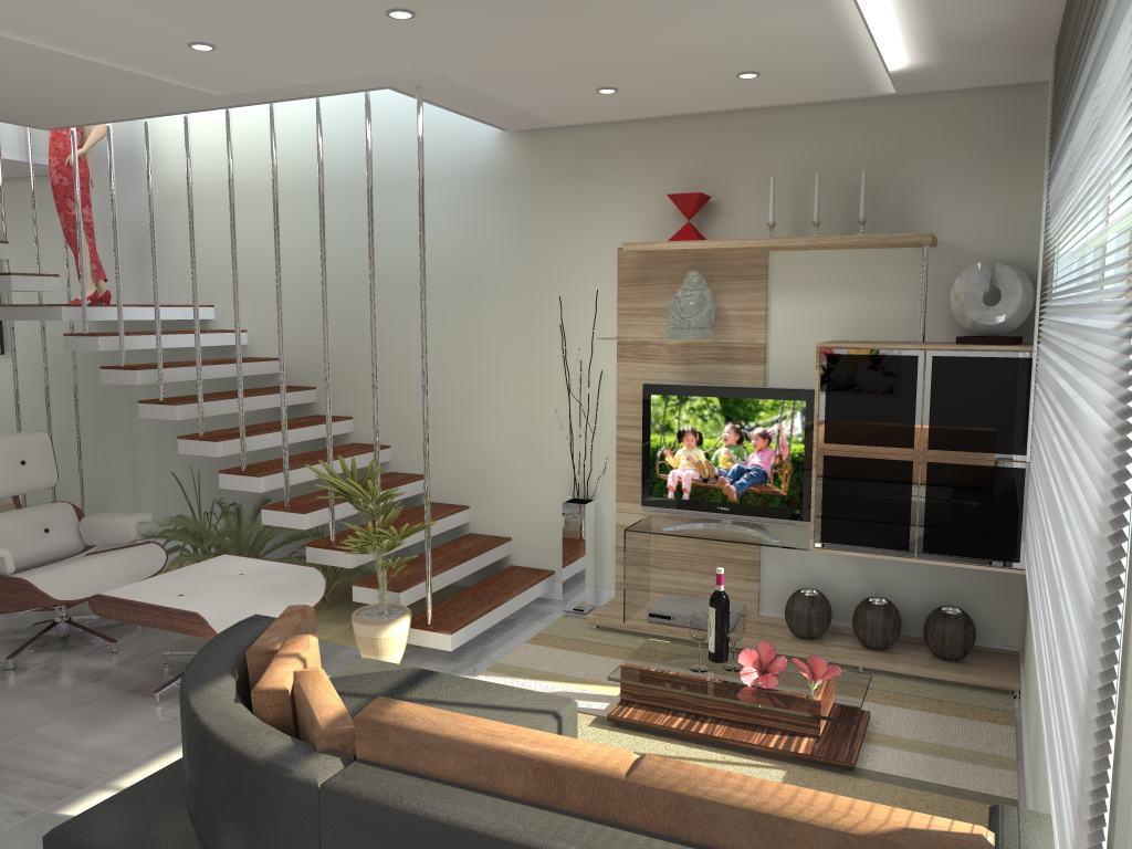 Fotos De Escadas Na Sala De Jantar ~ Imagem 47 – Sala de estar com escada de vidro