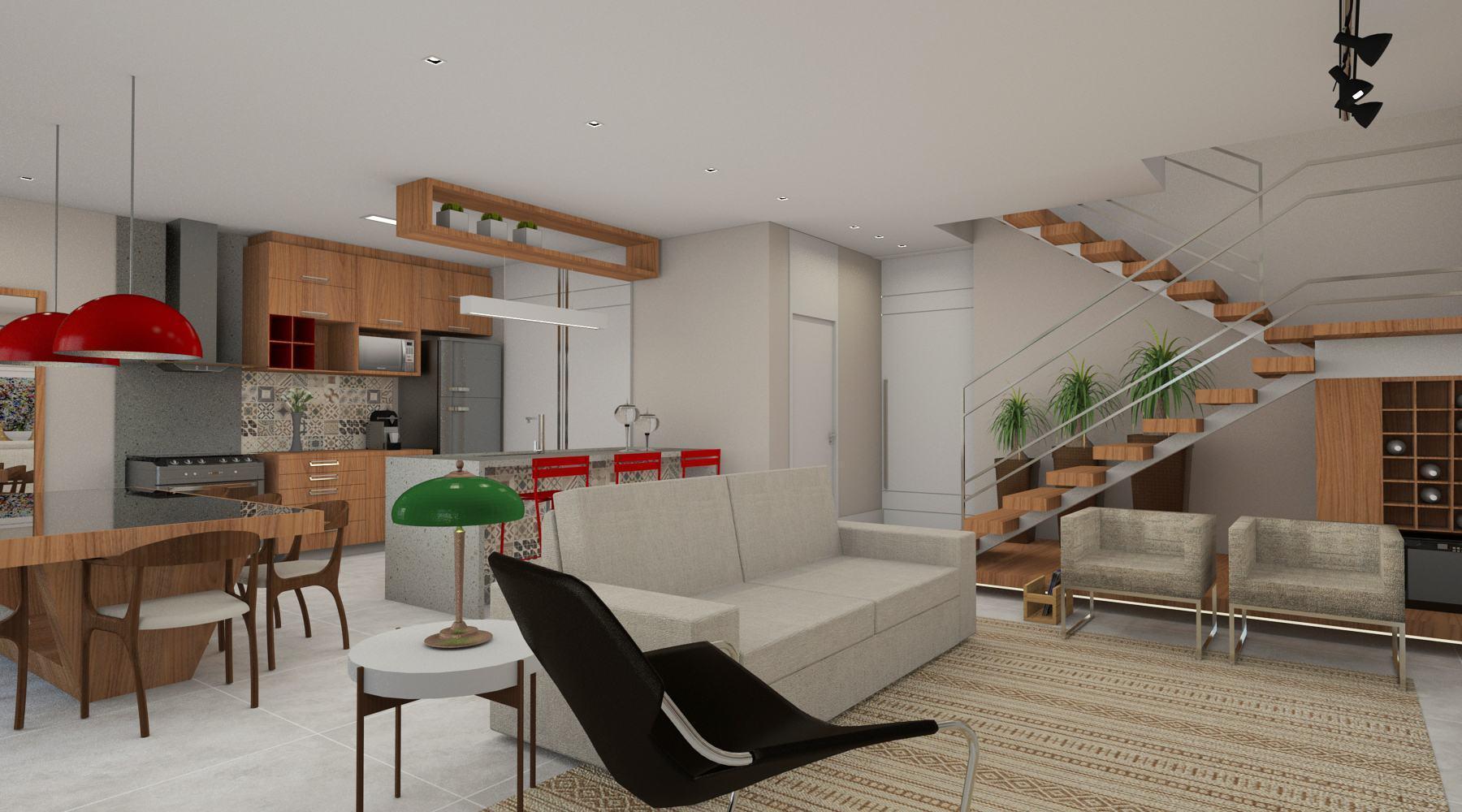 Sala Com Escada 60 Ideias E Refer Ncias Incr Veis  -> Cozinha Com Sala Conjugada