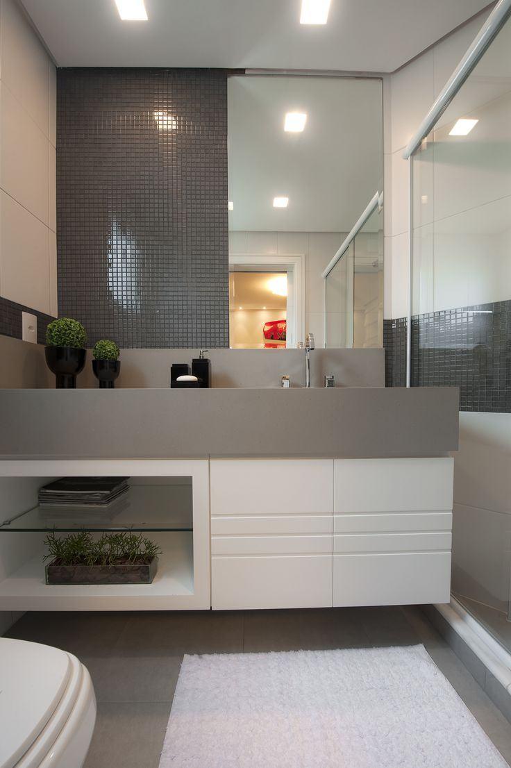 Banheiros Planejados 60+ Modelos e Fotos Incríveis! -> Banheiro Decorado Na Cor Cinza
