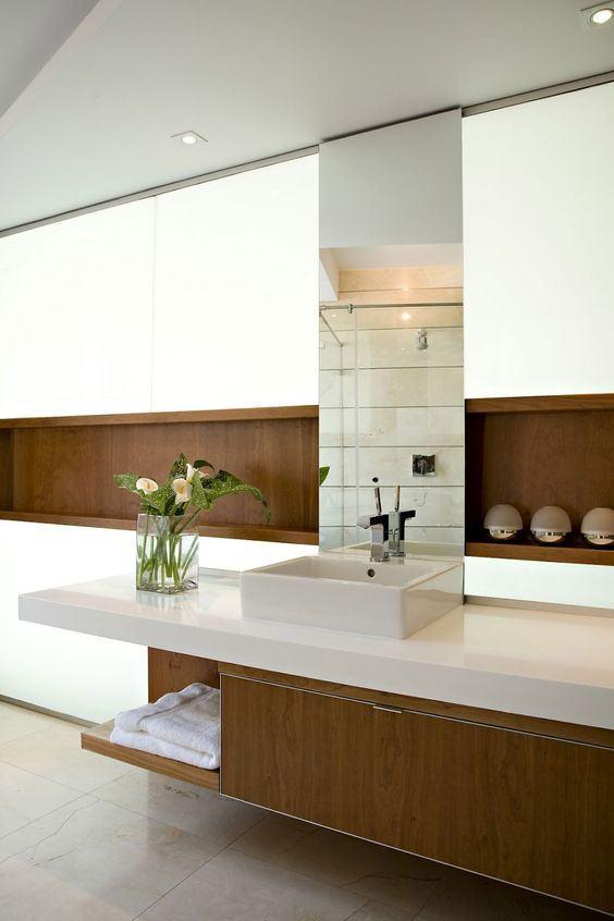 Banheiros Planejados 60+ Modelos e Fotos Incríveis! -> Armario De Banheiro Funcional