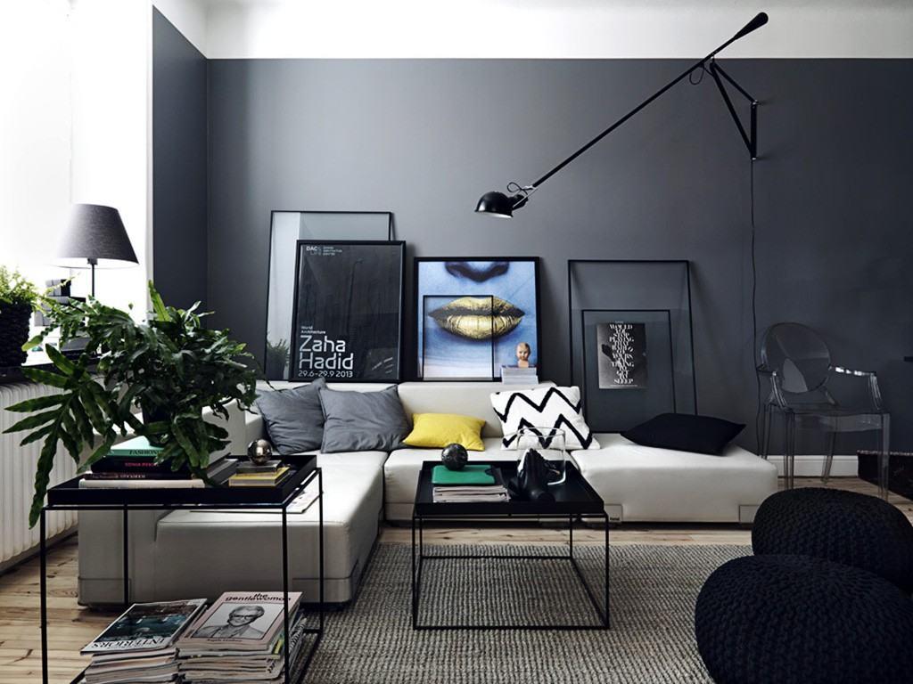 Sof cinza 60 fotos de decora o da pe a em salas for Sala de estar com um sofa