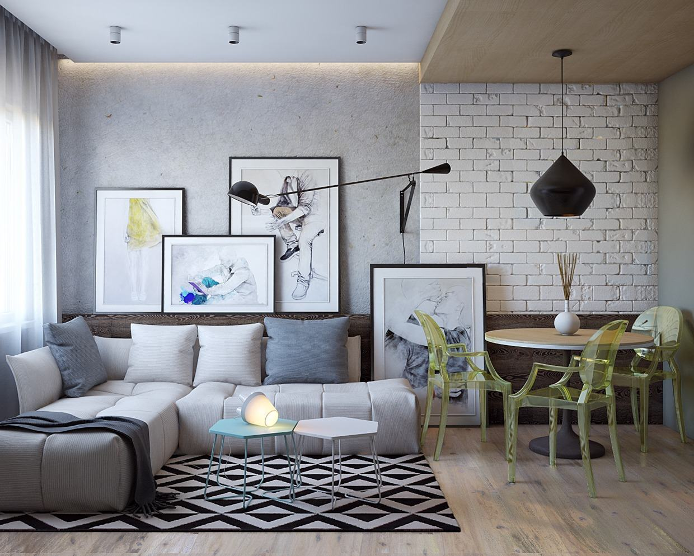 Sof Cinza 60 Fotos De Decora O Da Pe A Em Salas -> Sala Branca Com Parede Colorida
