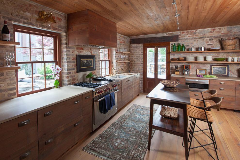 Cozinha rústica com tijolinhos e madeira