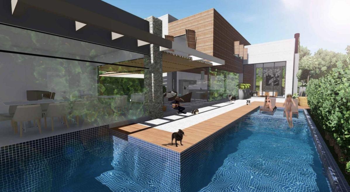 Para otimizar o custo insira apenas uma faixa no entorno da piscina