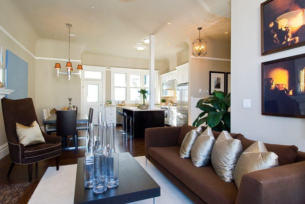 Sala De Estar Com Marrom ~  um modelo de sofá de 3 lugares mais moderno e baixo na cor marrom