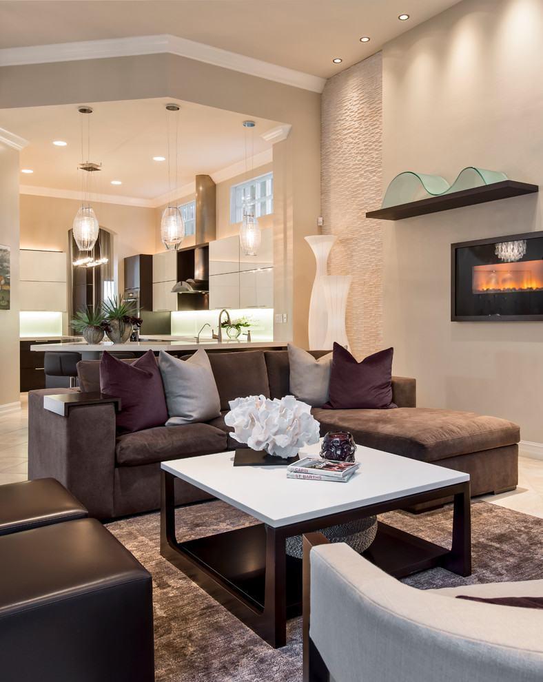 Sala com sof marrom 70 modelos e fotos lindas for Sofa para sala de tv