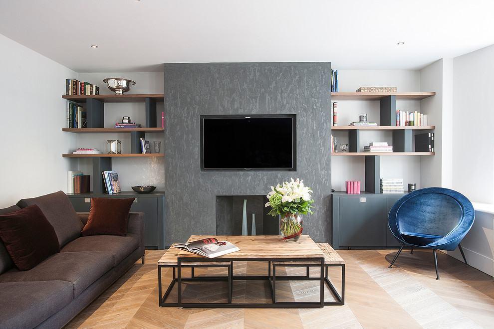 Sala De Tv Com Sofá Marrom ~ Imagem 27 – Sala de TV com sofás marrons