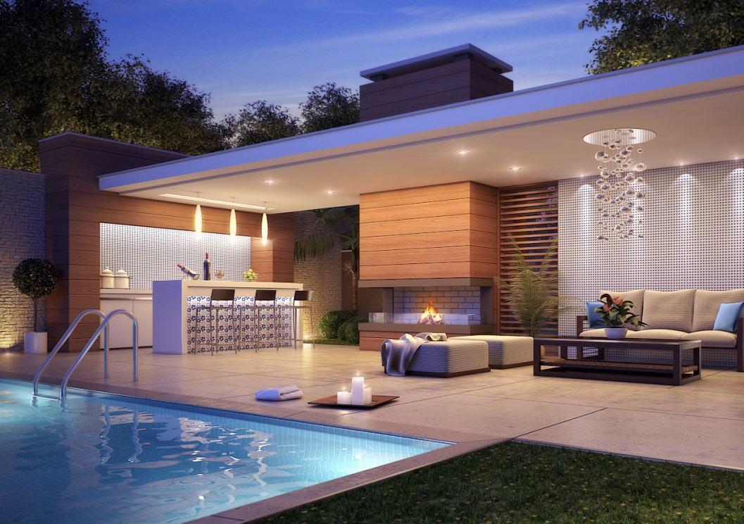 Ed cula com churrasqueira 60 modelos e fotos lindas for Modelos de piscinas modernas