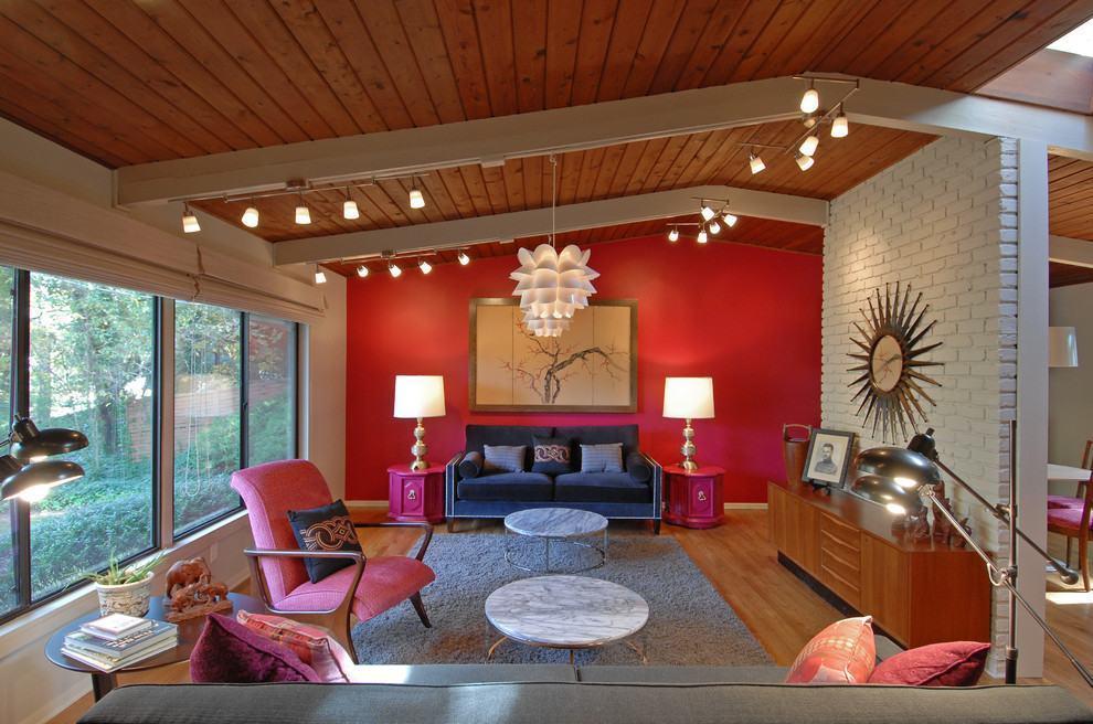 Sala De Estar Vermelha ~ Imagem 5 – Sala de estar com parede vermelha Destaque para os