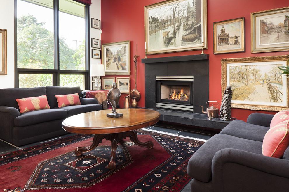 Sala De Estar Vermelha ~ Imagem 8 – Sala de estar com parede vermelha