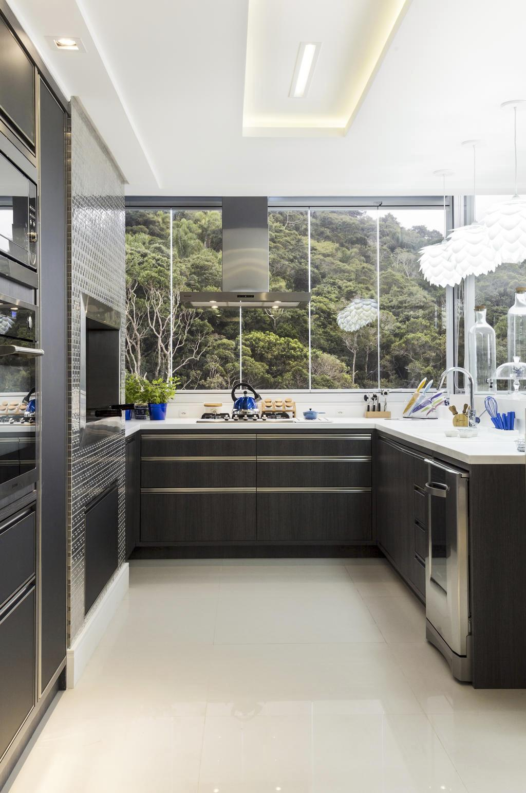 Cozinha com Churrasqueira: 60  Projetos e Fotos #3C496A 1024 1542