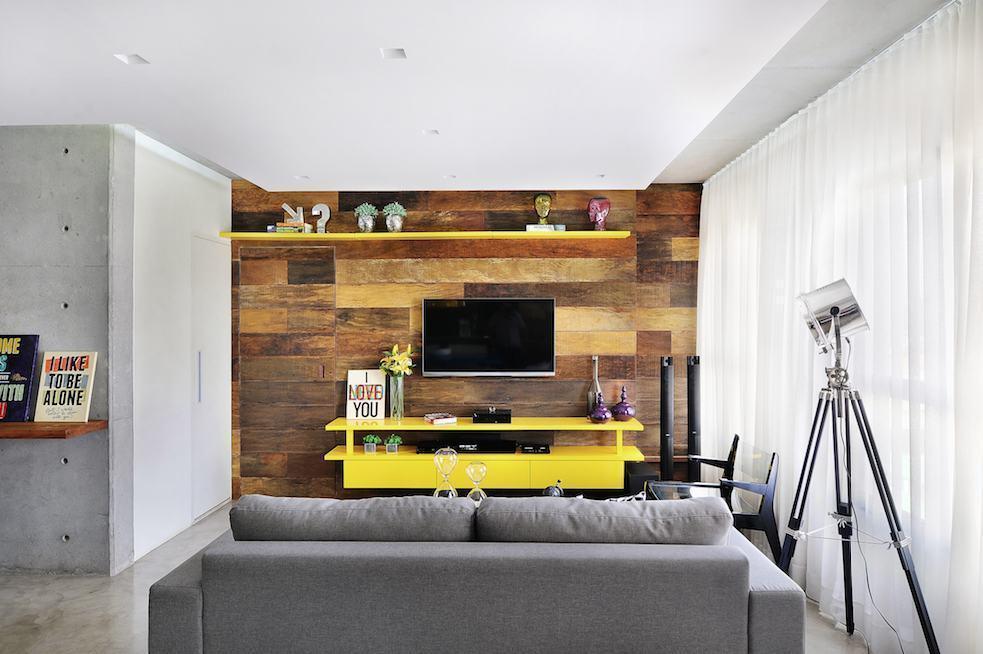 Sala decorada com um toque do amarelo