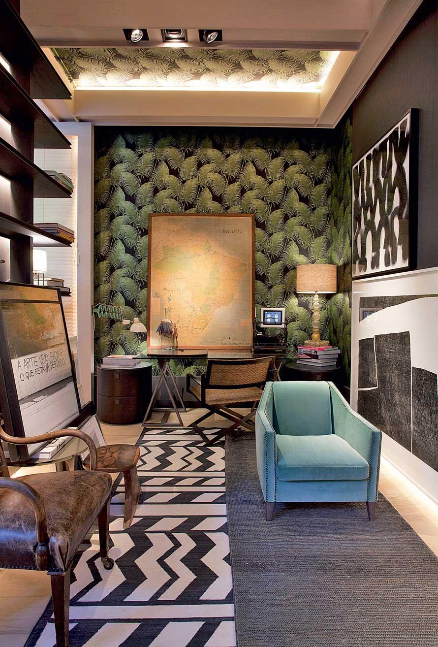 Projeto de sala decorada com papel de parede