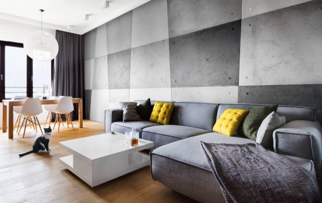 Existem intensidades de cinza do concreto, que tal compor elas na parede?