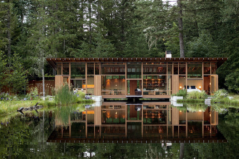 Casas de madeira 60 modelos e projetos incr veis - Houses woods nature integrated ...