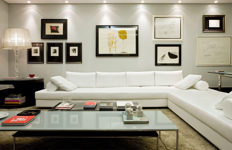 Sof branco 60 inspira es e fotos de decora o for Sofa grande sala pequena
