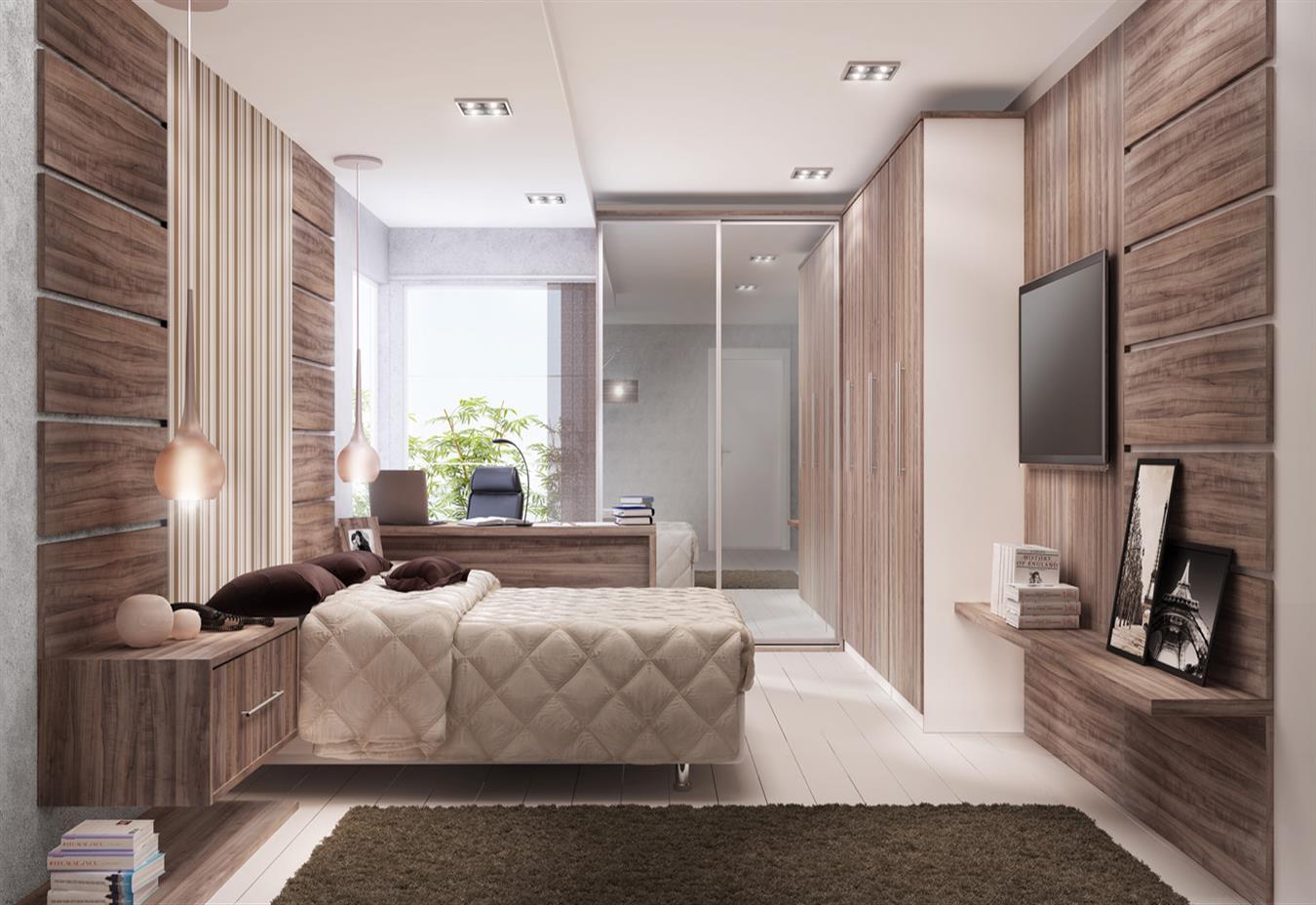 Monte uma cabeceira de destaque com madeira e papel de parede.