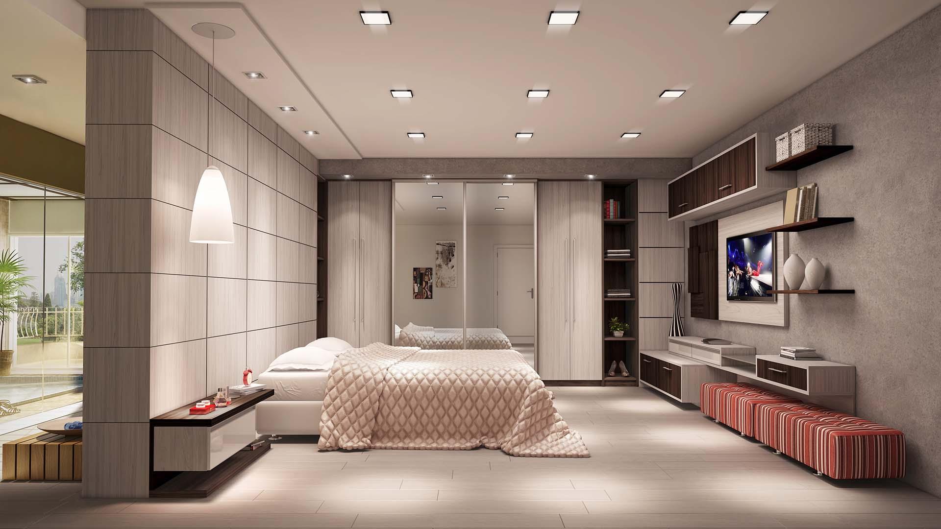 Além dos móveis planejados incorpore pufes na decoração.