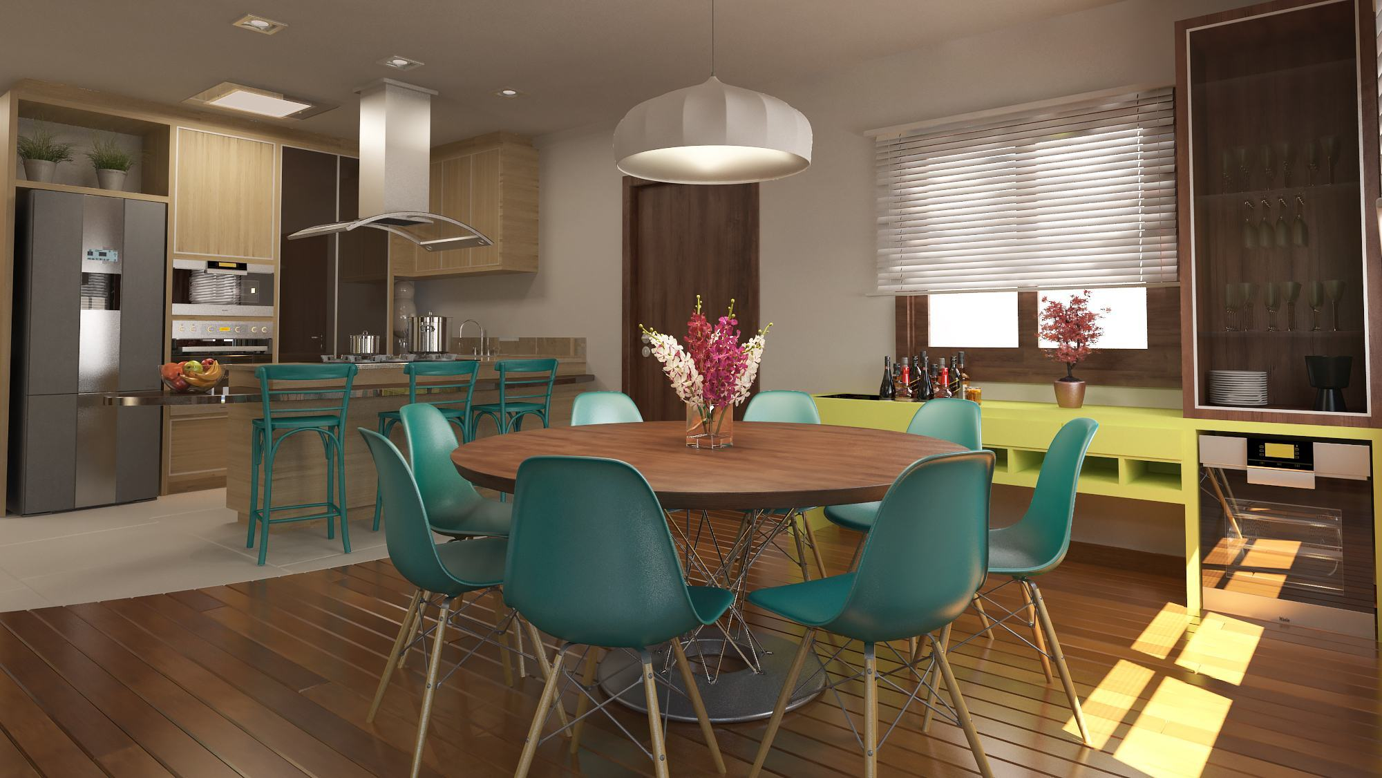 Mesas De Jantar Modernas 60 Projetos Dicas E Fotos  -> Sala De Jantar Pequena Mesa Redonda Ou Retangular
