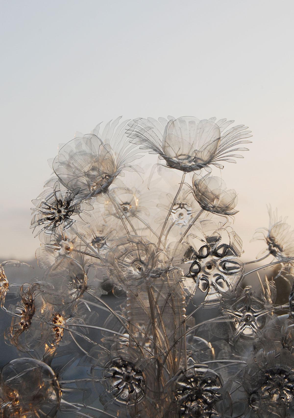 Flores transparentes de garrafa PET