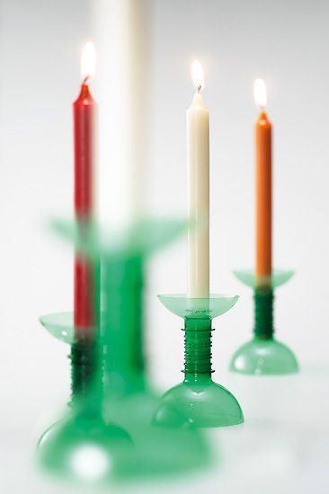 Suporte para velas feitos de garrafa PET