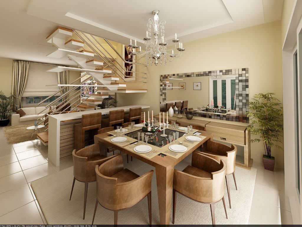 #3C2A18  modernos para combinar com qualquer outro tipo de material 1024x768 píxeis em Decoração De Sala De Jantar Com Gesso