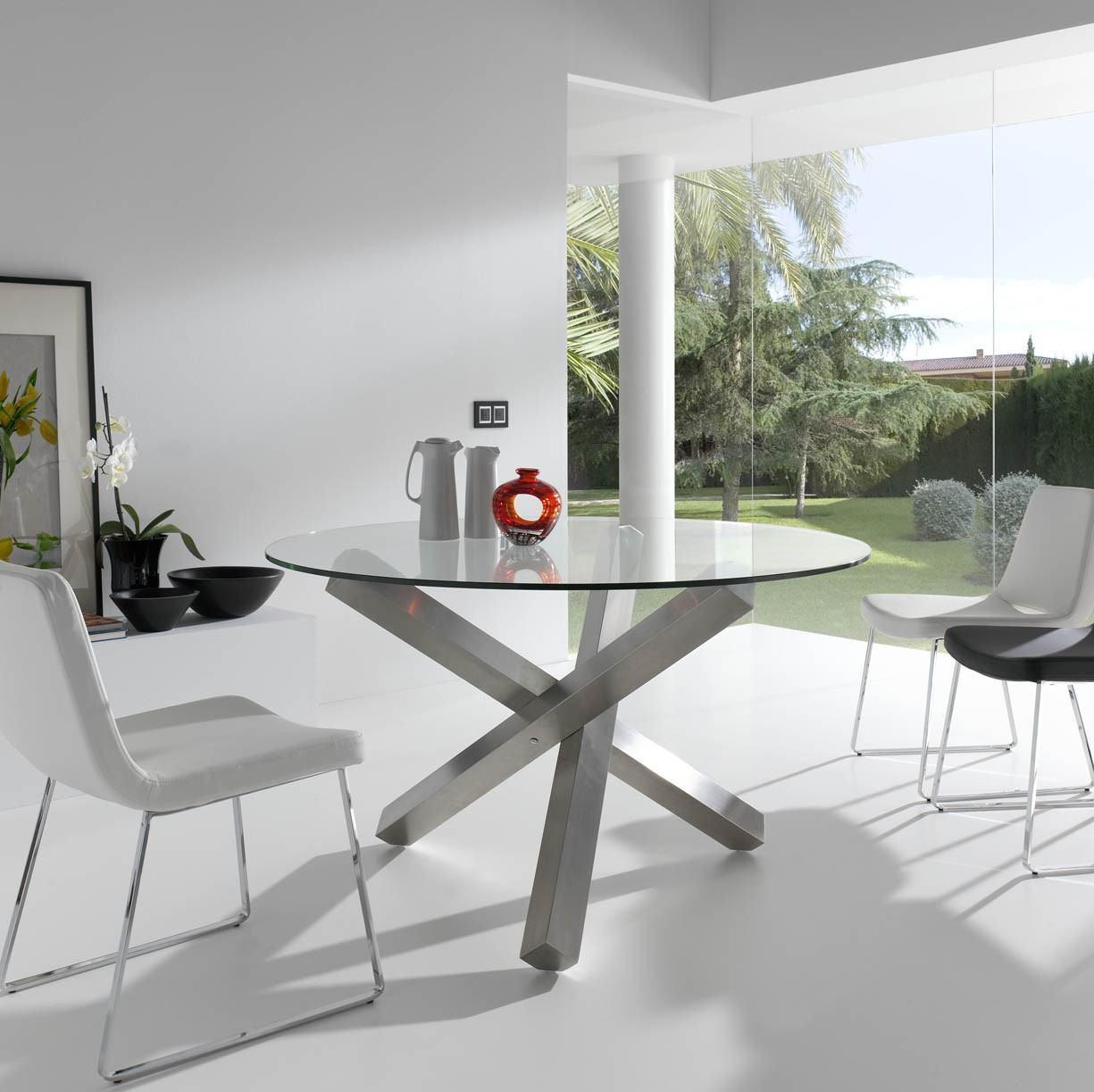 Mesa de vidro 60 modelos de jantar redondos 4 e 6 cadeiras for Mesas redondas modernas