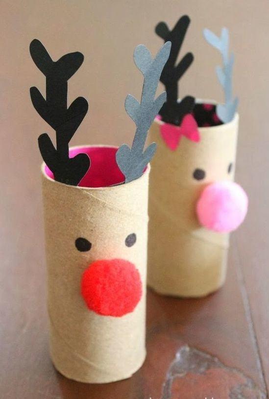 Faça renas decorativas com rolo de papel.
