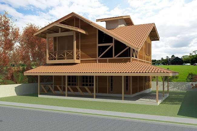Casa de madeira com dois pavimentos