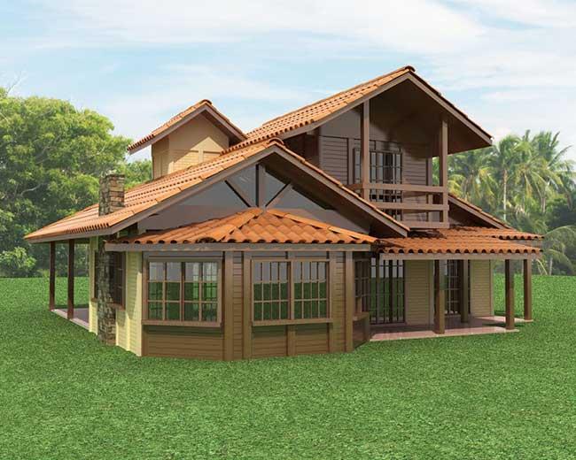 Casa simples de madeira com chaminé