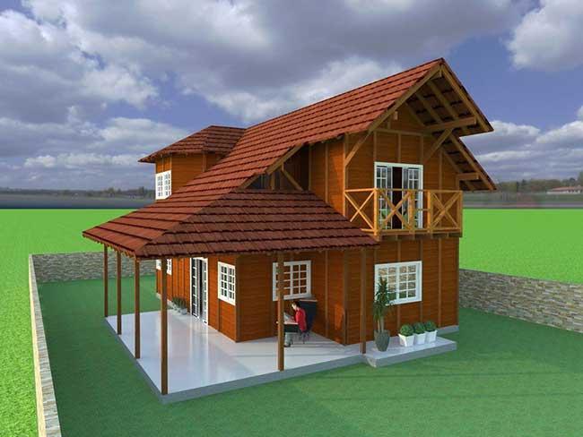 Casa unifamiliar pré fabricada em madeira