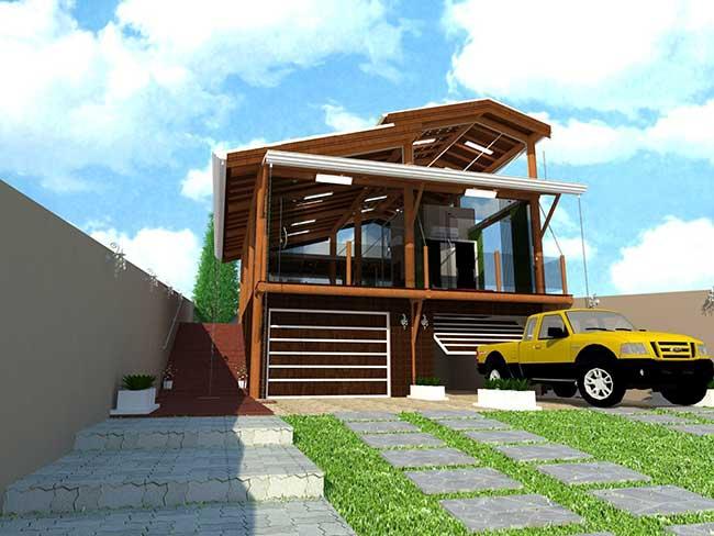 Casa moderna de madeira roliça