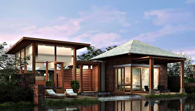 Formato de casa de madeira com cheios e vazios