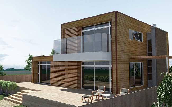 A casa com detalhes em madeira equilibra o visual