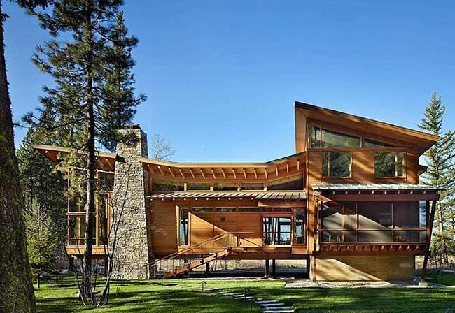 Telhado vazado para casa de madeira