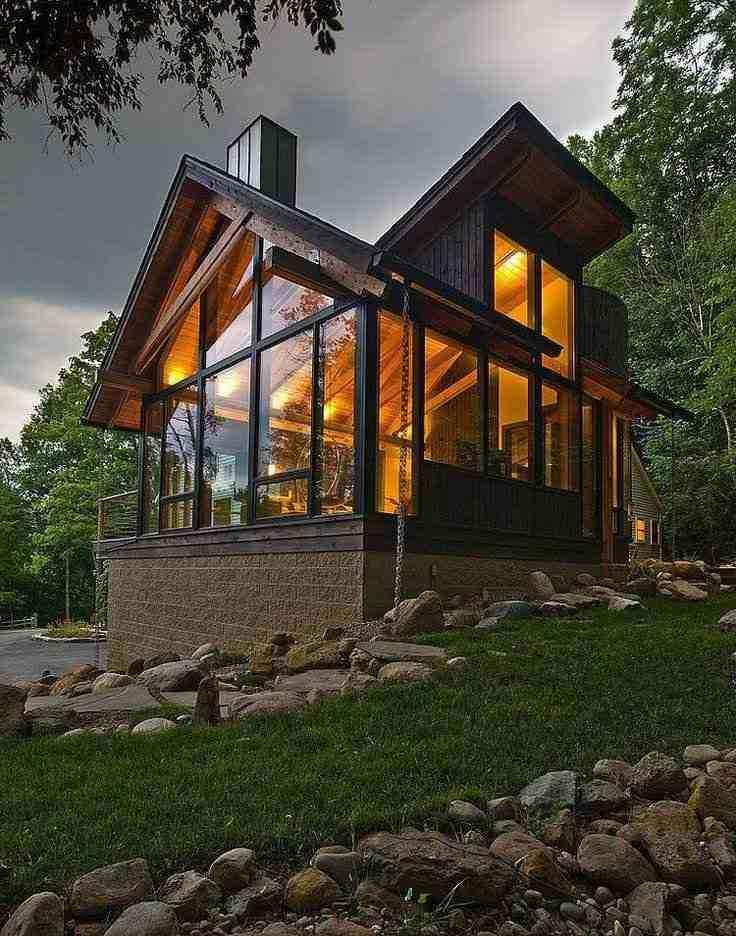 Fachada de casapara residência estilo chalé