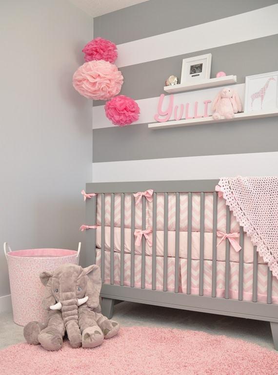 Quarto de beb rosa 60 fotos e inspira es incr veis - Cestos decorativos ...
